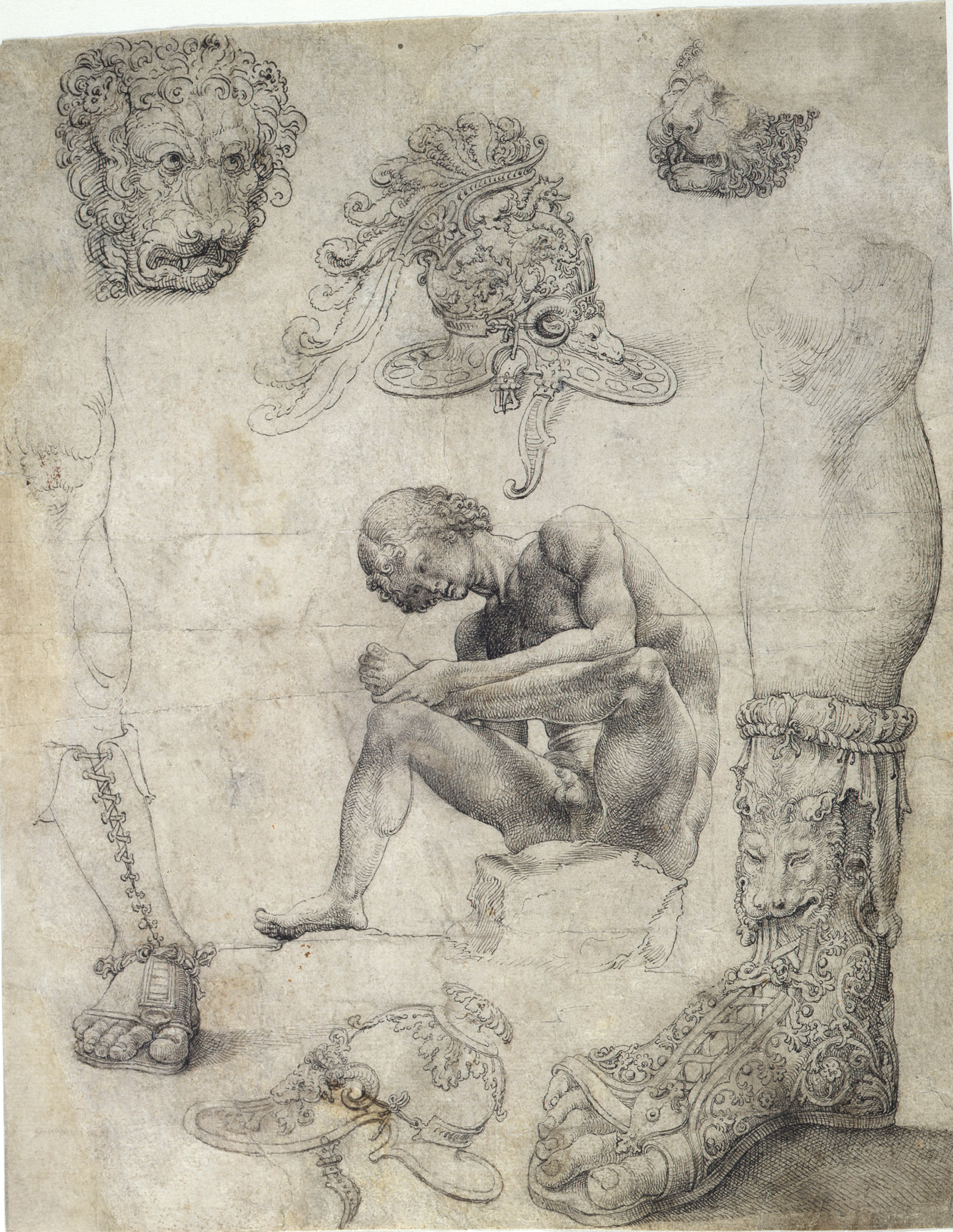 Jan Gossaert - Studi di sculture antiche - 1509 ca. - Leiden University Library