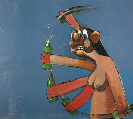 George Condo - Nude Homeless Drinker - photo Benoit Pailley