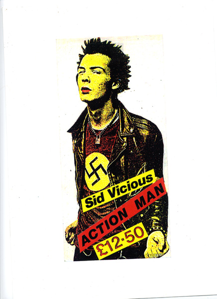 Jamie Reid – Sid Vicious Action Man – 1978 –courtesy Isis Gallery, Londra
