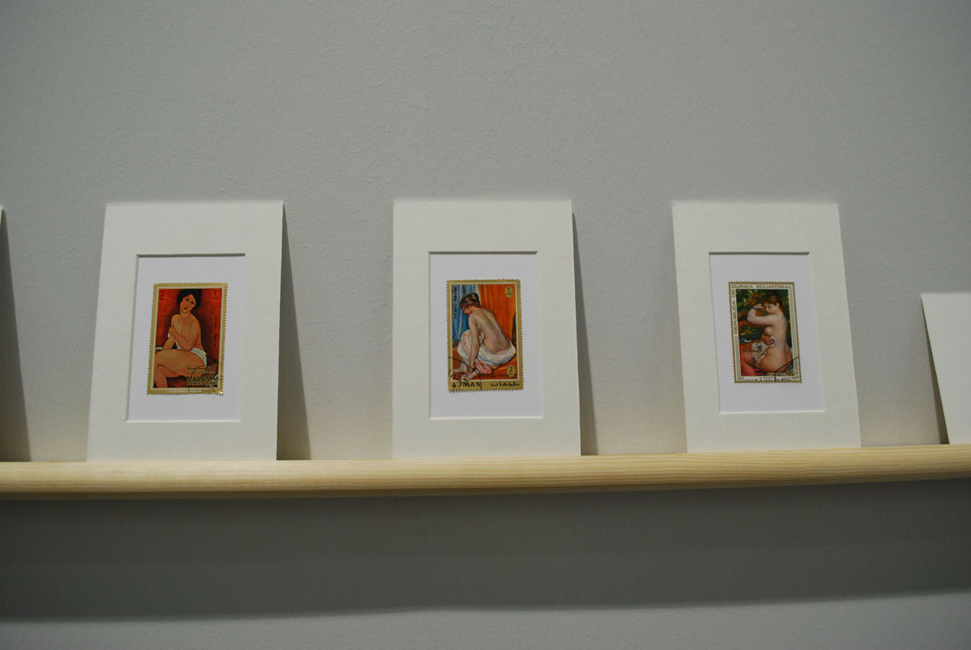 Hans-Peter Feldman, Stamps with paintings, 180 francobolli con passepartouts, 4 x 6 inches cad., 303 Gallery, Nyc