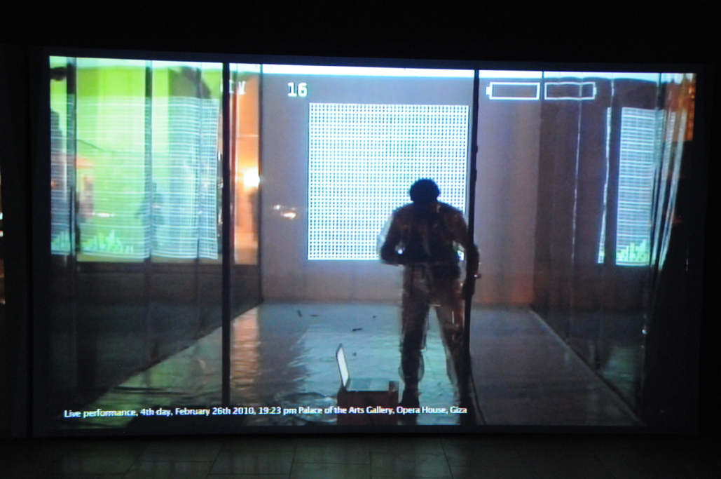 Padiglione Egitto, Ahmed Basiony, 30 days of Running in Space, particolare dell'installazione, photo by Valentina Grandini