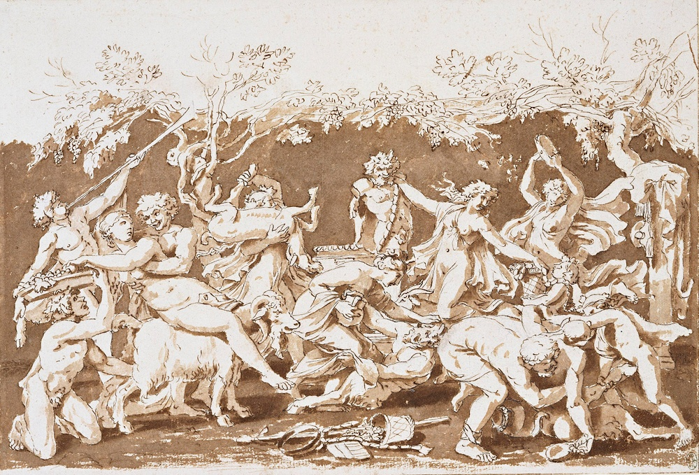 Nicolas Poussin, The Triumph of Pan, c. 1636, Pen and ink with wash over stylus and black chalk, 581 x 410 x 29 mm. Lent by Her Majesty the Queen.  The Royal Collection © 2011 Her Majesty Queen Elizabeth II