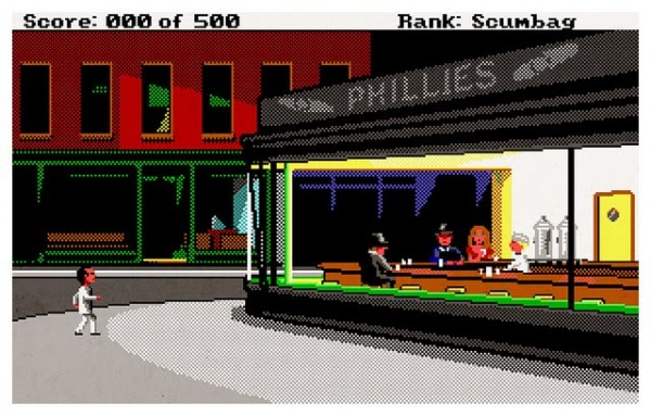 Leisure Suit Larry Goes Looking for Love (in Several Wrong Places) (1988) and Edward Hopper's Nighthawks (1942). Image credit: Aled Lewis