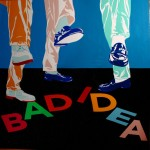 Stephen Powers, Bad Idea, 2011, Enamel on Aluminum, 122x122 cm, Courtesy Galleria Patricia Armocida, Milano