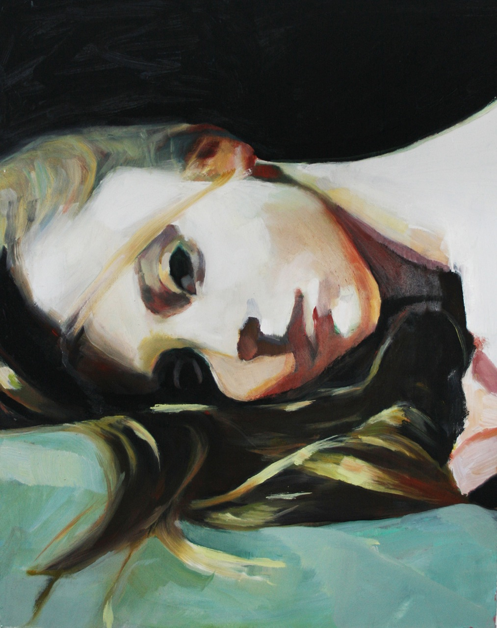 Juliana Romano - Girl lying on her back and turning her head - 2011 - courtesy l'artista & Brand New Gallery, Milano