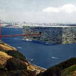 Superstudio – Architettura riflessa, Edificio di bosco sul Golden Gate 1970 – fotomontaggio: courtesy Superstudio