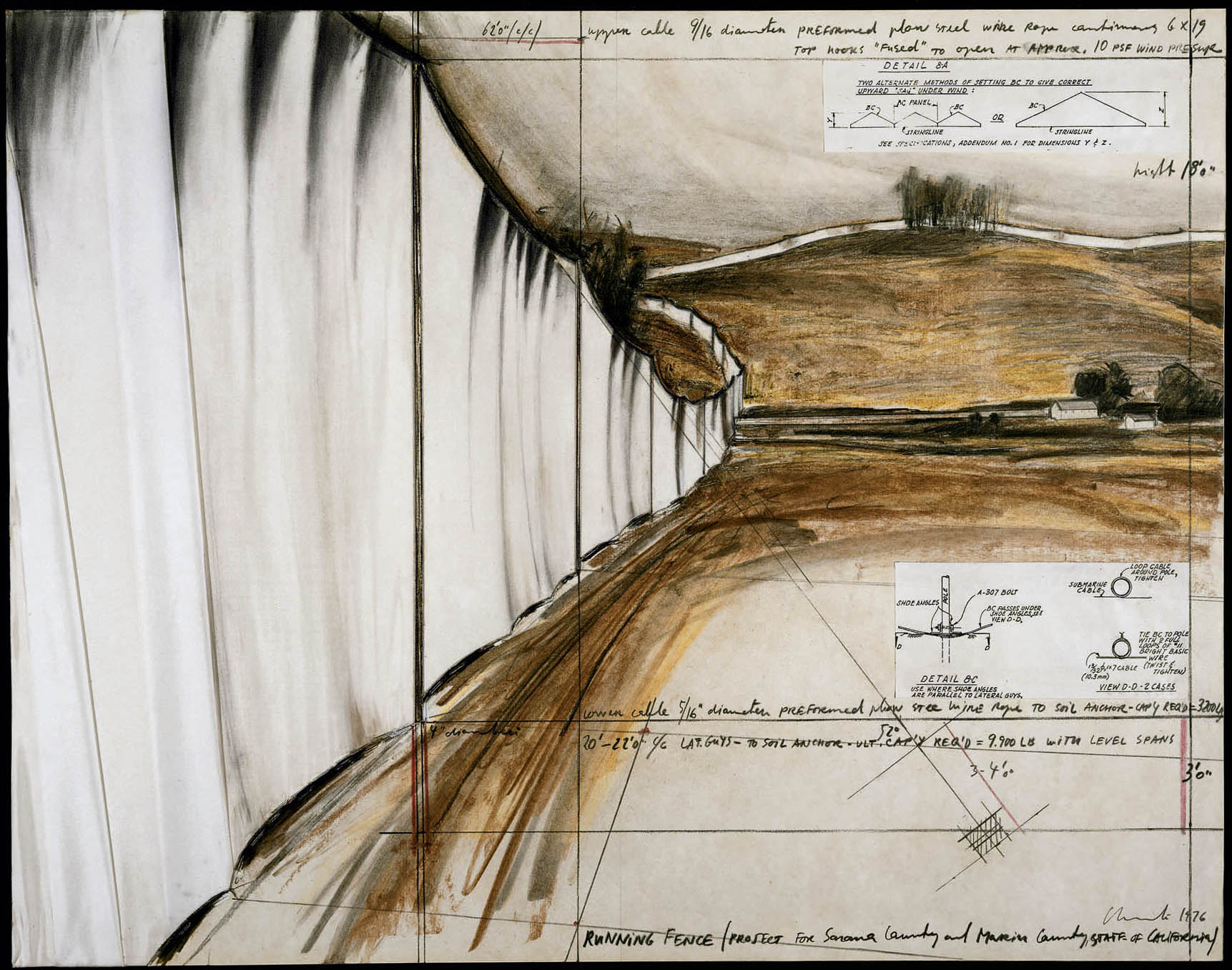 Christo, Running Fence , project for Sonoma and Marin Counties, California, 1976