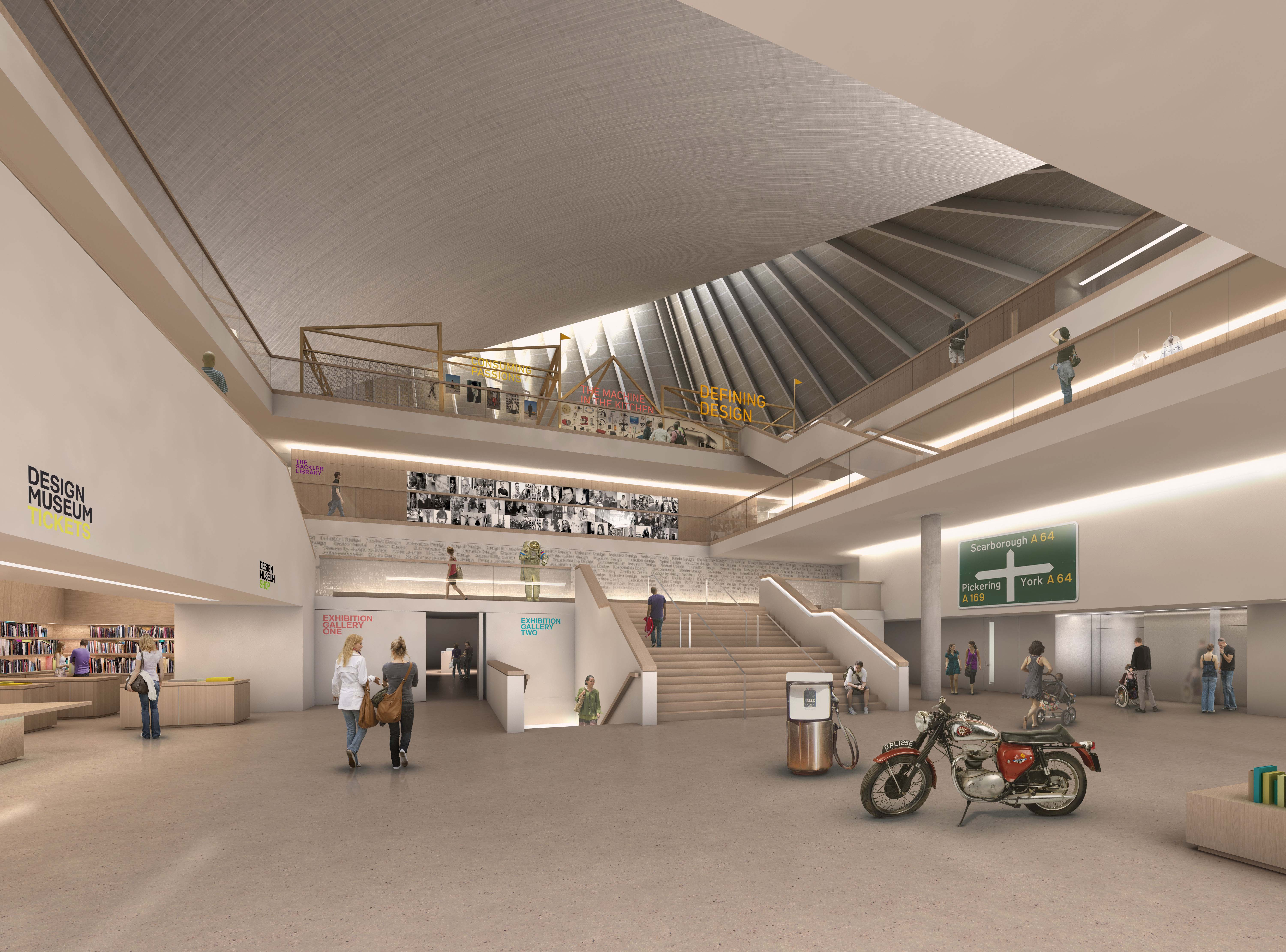 New Design Museum, Entrance Foyer. John Pawson Ltd Image by Alex Morris Visualisation