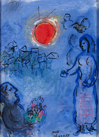 Marc Chagall - L'offrande au soleil rouge - 1978 ca. - courtesy of SEM-ART Gallery Monaco