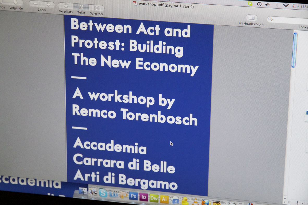 "Al lavoro per il workshop ""Between Act and Protest, Building The New Economy"" per l'Accademia Carrara di Belle Arti di Bergamo 2"