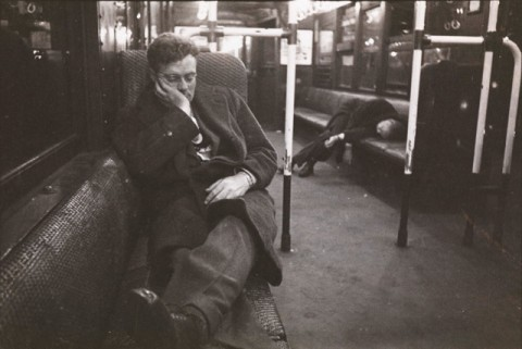 Stanley Kubrick, Life and Love on the New York City Subway, Men sleeping in a subway car. 1946. Museum of the City of New York