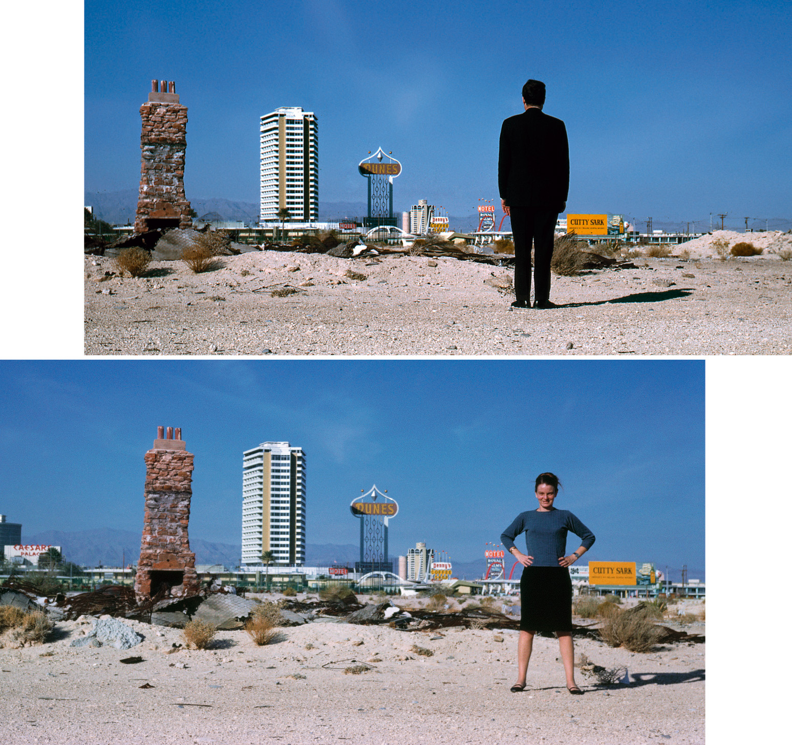 Denise Scott Brown e Robert Venturi - Denise Scott Brown e Robert Venturi nel deserto di Las Vegas - 1966 - courtesy studio Venturi, Scott Brown and Associates, Inc., Filadelfia