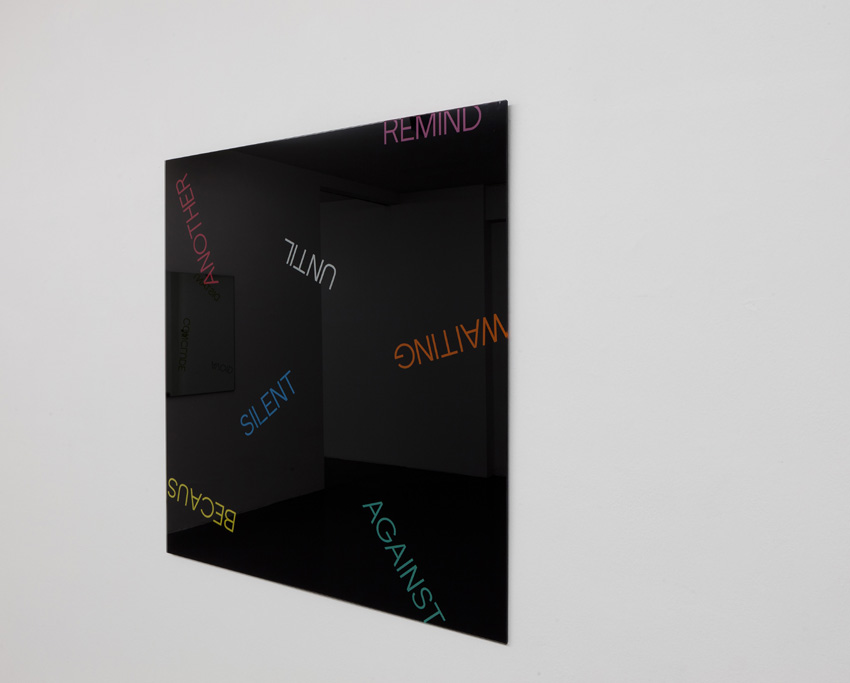 Robert Barry - Black Mirrorpiece with multicolored words - 2011