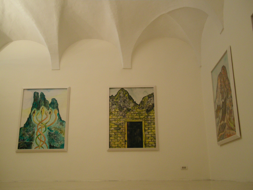 Francesco Clemente - Emblemes and mountains: recent watercolors and works on paper - veduta della mostra presso lo Studio Raffaelli, Trento 2012