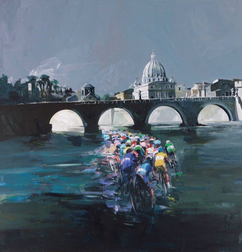 Antonio Tamburro, Ciclismo sul Tevere, acrilico su tela -  cm 140 x 140