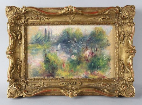 Il piccolo dipinto attribuito a Renoir (foto Potomack Company Auctions and Appraisals)