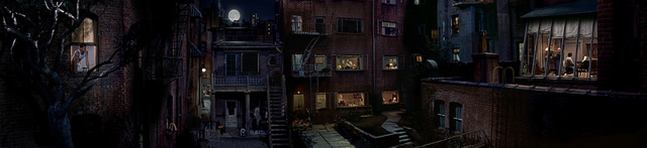 Jeff Desom – Rear Window Loop da  Hitchcock's (collage digitale, scena notte) – © Jeff Desom