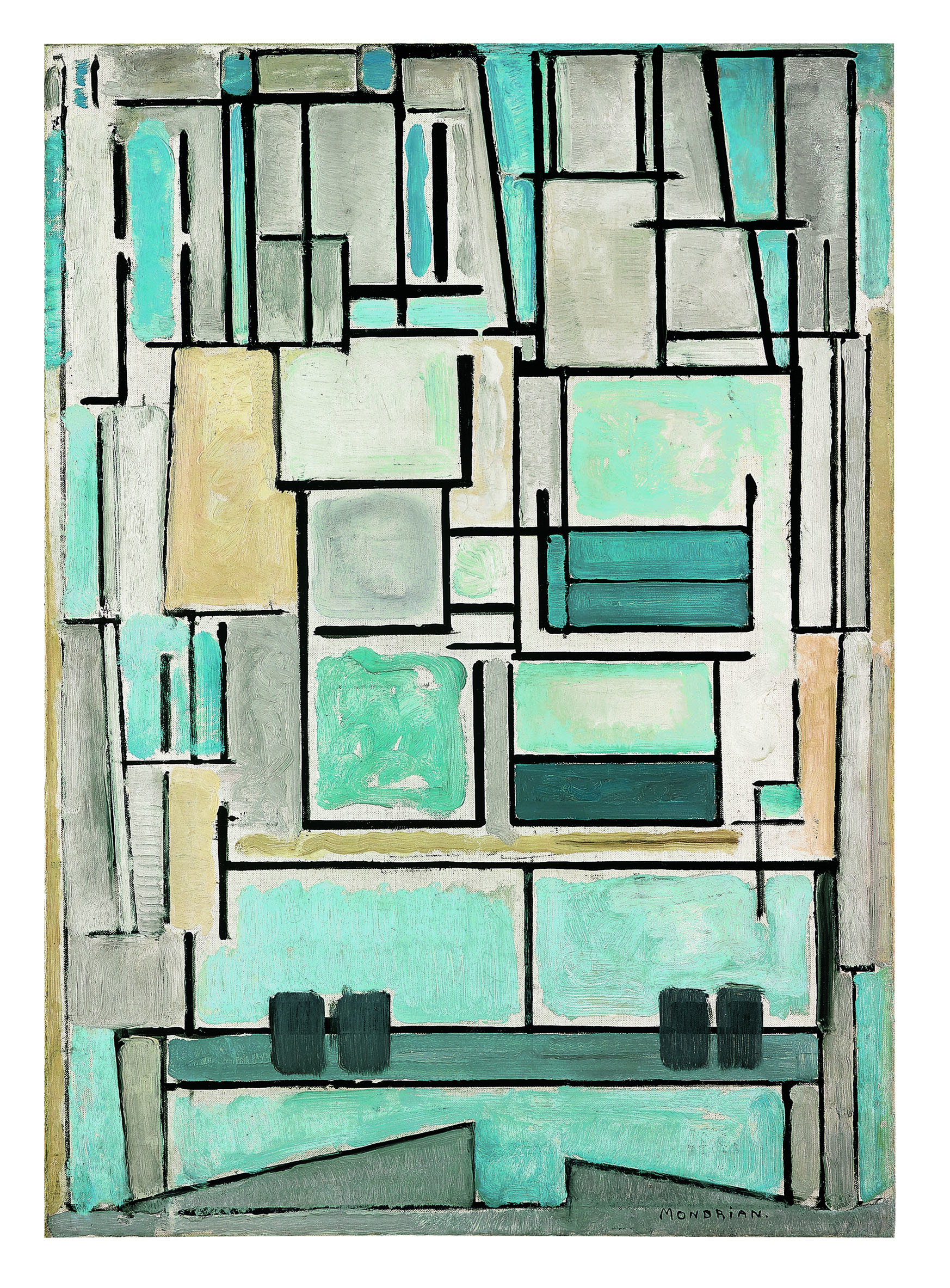 Piet Mondrian - Composition No. VI (Composition 9, Blue Façade) - 1914 - Fondation Beyeler, Riehen/Basilea - photo Peter Schibli, Basel © Mondrian/Holtzman