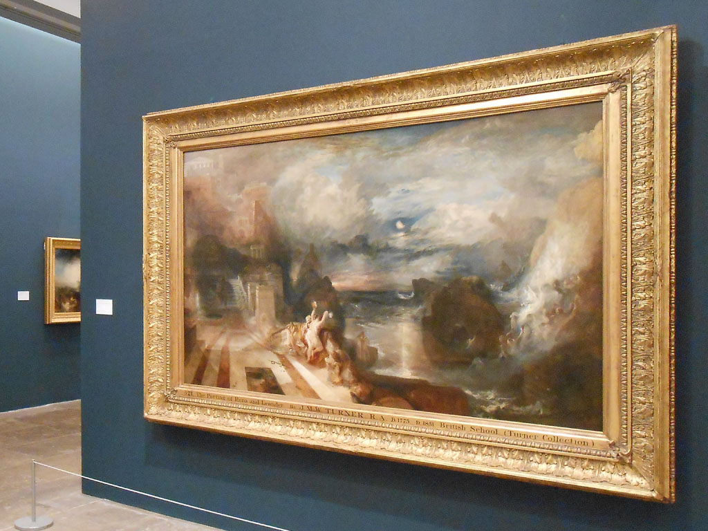 Turner Monet Twombly: Later Paintings - veduta della mostra presso la Tate Liverpool, Liverpool 2012 - in primo piano JMW Turner, The Parting of Hero and Leander (exhibited 1837)