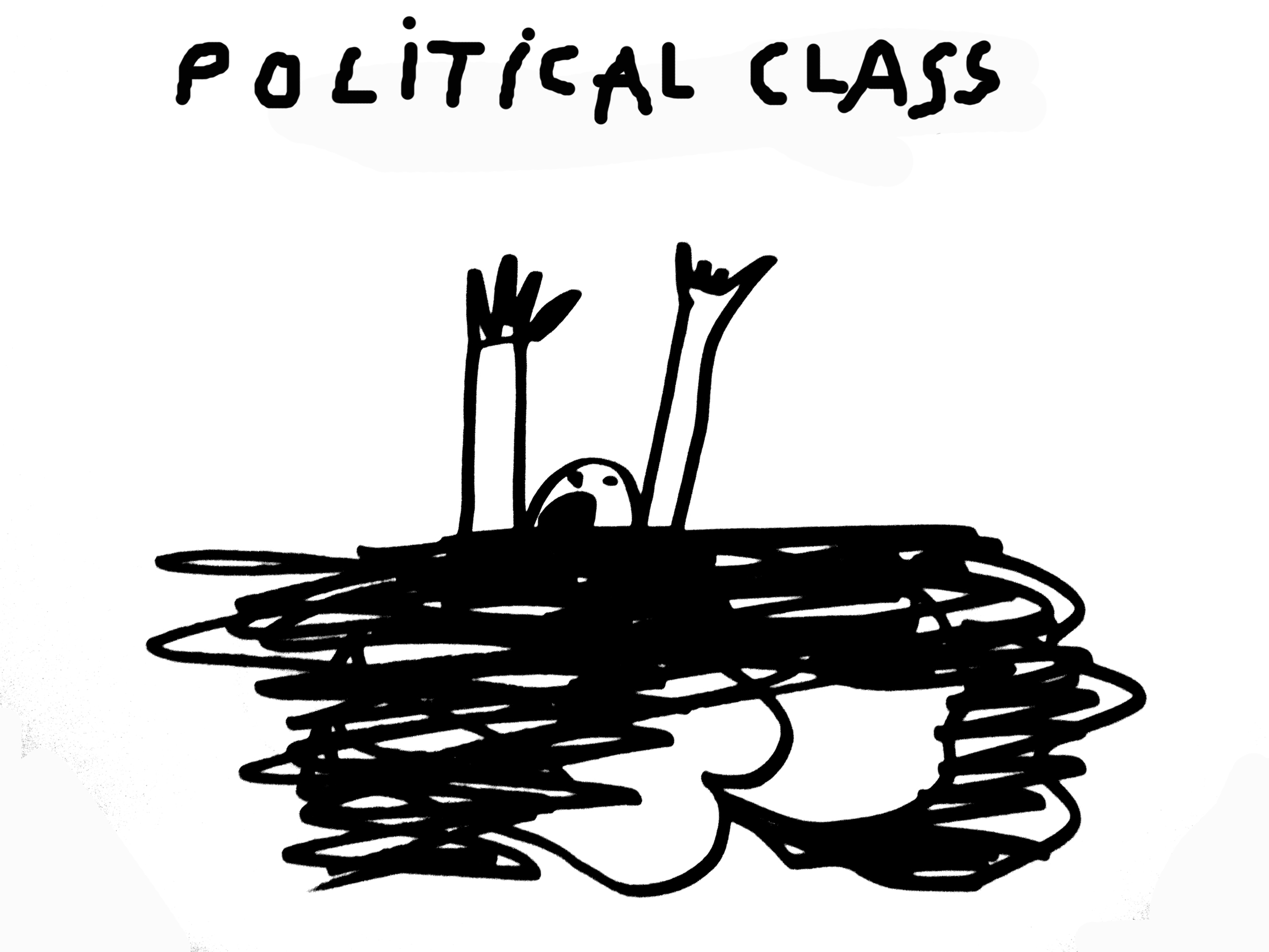 Dan Perjovschi, Drawing 1993-2012 (political class), variable dimension, variable technique, Courtesy the artist