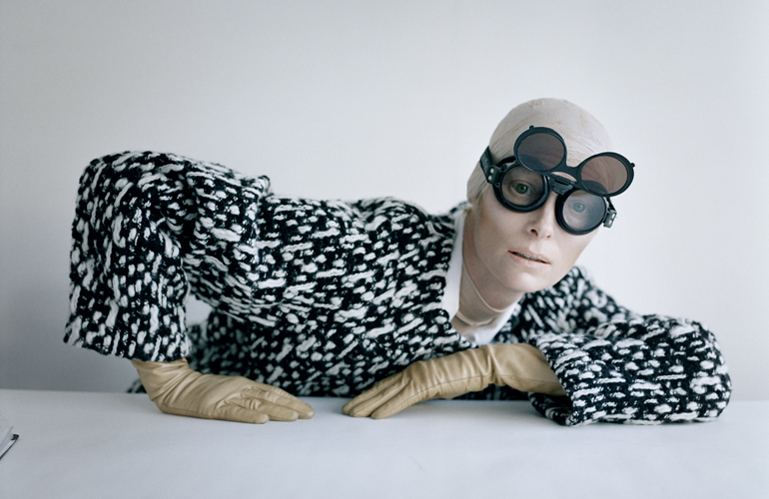 Tim Walker - Tilda Swinton and aviator googles, Fashion: Yves St Laurent, Reykjavik, Iceland, 2011
