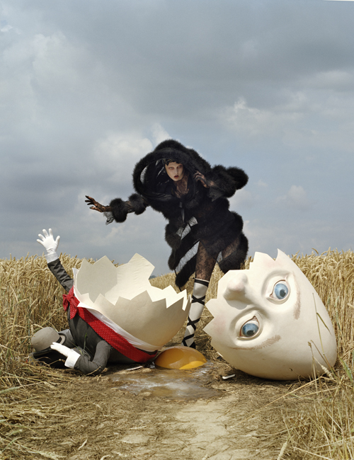 Tim Walker - Karlie Kloss in Gaultier Paris with broken Humpty Dumpty, Rye, East Sussex, 2010