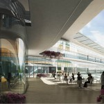 RiMED Laboratory Complex Central Conference Space and Outdoor Break Area - photo HOK