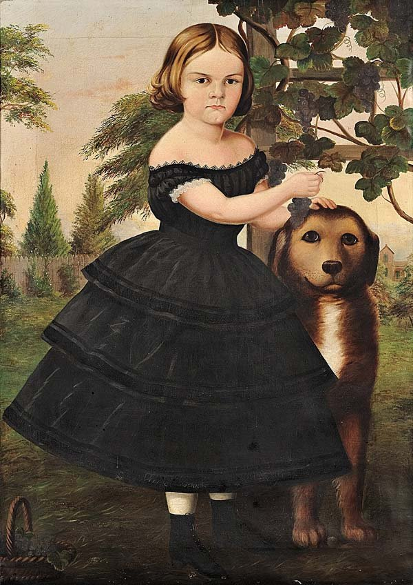 Susan Catherine Moore Waters - Portrait of a Girl and Her Dog - 1855-60