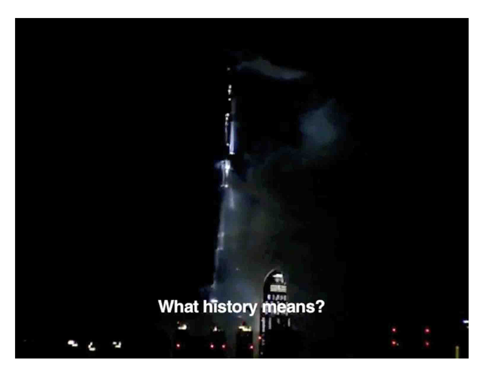 Alessandro Sambini, A bombed tower grasps our gaze again, 2011, still di video