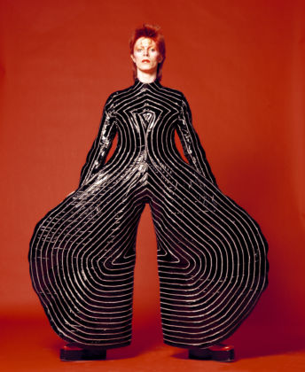 David Bowie, Striped bodysuit for Aladdin Sane tour, 1973 - design Kansai Yamamoto - photo Masayoshi Sukita © Sukita / The David Bowie Archive 2012