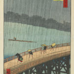 Utagawa Hiroshige, Distant View of Atake in an Evening Shower over Ōhashi Bridge dalla serie One Hundred Famous Views of Edo, 1857 - Courtesy Minneapolis Institute of Arts