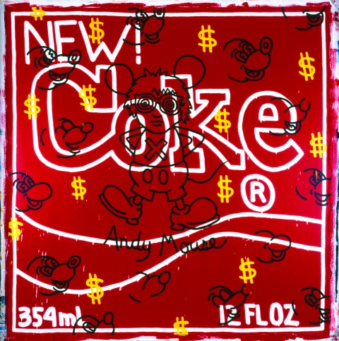 Keith Haring, Andy Mouse – New Coke, 1985 - courtesy Galerie Gmurzynska - © Keith Haring Foundation