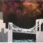Harif Guzman, Now That I'm Sober Crossing the Bridge After a Hurricane 2013 Mixed Media on Unstretched Canvas 120 130 inches