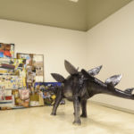 Rob Pruitt, A Fiberglass-model of a Stegosaurus Dinosaur, 2012 / A Painting Quadriptych, 2012 and A Painting Diptych, 2012 - Courtesy of the artist and Gavin Brown's enterprise, New York