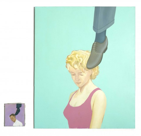 Francis Alÿs, Untitled (Man-Woman with shoe on head, Liar Series, dittico),1995 - collezione Iannaccone