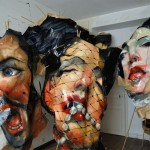Rupert Shrive, Seven Deadly Sins, 2011, Acrylic on brown paper, resin and bamboo, detail with Wrath, Lust and Pride