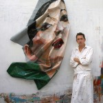 Rupert Shrive standing next to his post painting Chinese girl, PVC, 2008
