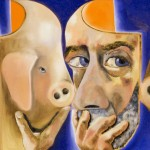 Francesco Clemente, Self-Portrait with and without the Mask, 2005 - olio su lino, cm 116,8x234,3