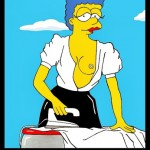 Homer and Marge Simpson Helmut Newton Erotic Iconic Shots Celebrate 25 years The Simpsons Calendar 2014 August Art Cartoon Satire Fashion Luxury Humor Chic by aleXsandro Palombo