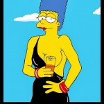 Homer and Marge Simpson Helmut Newton Erotic Iconic Shots Celebrate 25 years The Simpsons Calendar 2014 July Art Cartoon Satire Fashion Luxury Humor Chic by aleXsandro Palombo