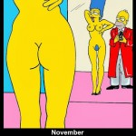 Homer and Marge Simpson Helmut Newton Erotic Iconic Shots Celebrate 25 years The Simpsons Calendar 2014 November Art Cartoon Satire Fashion Luxury Humor Chic by aleXsandro Palombo
