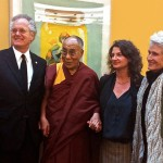 Jon Gregg  (Founder VSC),  His Holiness the Dali Lama, Rachel Weingeist (Senior Advisor to the Rubin Foundation) Louise von Weise (Founder VSC) - On the occasion of an October 2012 exhibition  of  Contemporary Tibetan Art by 5 Vermont Studio Center Tibetan Alumni funded by the Rubin Fdtn