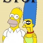 Homer and Marge Simpson The Simpsons Art Portrait Social Campaign Domestic Woman Women's Violence Stop Abuse Satire Sketch Cartoon Illustration Critic Humor Chic by aleXsandro Palombo 1