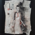 Monica Marioni, You're not a baby anymore (detail 1), 2012, mixed media on  Diesel jeans, 78x100cm