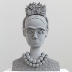 Pedro Reyes, Head of Frida Kahlo II, 2014, Volcanic stone, 95.5 x 76.5 x 45.5 cm, Base: 75 x 80 x 60 cm, © the artist; Courtesy, Lisson Gallery, London
