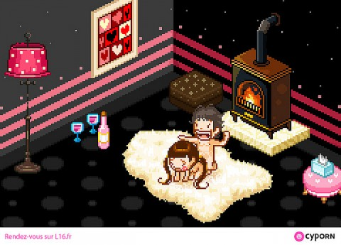 """Art installation by Pierrick Thébault. """"Cyporn"""", a set of 5 animated pixel porn scenes running on a Game Boy"""