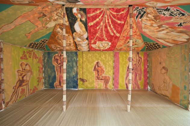 Francesco Clemente 'Standing with truth' Tent 2012-2013 Tempera on cotton, embroidery, hand stitching, bamboo poles, wood finials, ropes, iron weights Dimension of the tent 600 x 400 x 300 cm