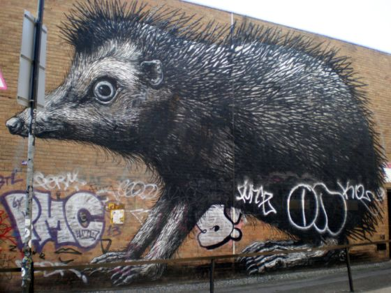 Roa, Chance street- Hedgehog, Shoreditch, London 2012