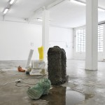 Naum (opposite view) 2014, plaster, clay, paraffin, styrofoam, ceramic, latex, bucket barrels, water pump, electric cables