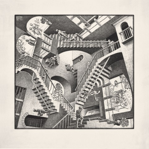 Maurits Cornelis Escher – Casa di scale (Relatività), 1951.Collezione Federico Giudiceandrea © 2014 The M.C. Escher Company. All rights reserved